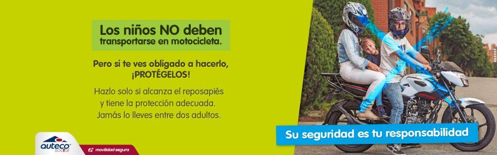 Niños, moto, tránsito Colombia, seguridad vial, Auteco Social,